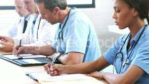 Serious medical team in a meeting