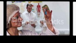Montage of doctors examining samples