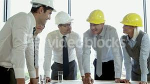 Architect colleagues working on project