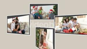 Montage of families opening their presents