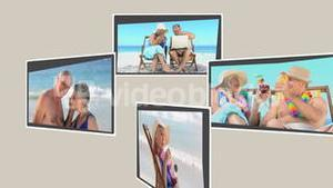 Montage of mature couples relaxing on the beach