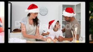 Montage of families celebrating Christmas Day