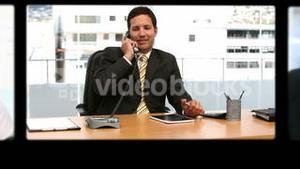 Montage of business people working and talking on the phone