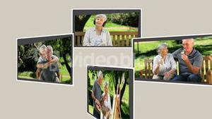 Montage of a retired couple relaxing outside