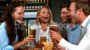 Business people having a drink together
