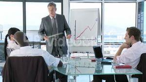 CEO in a business meeting explaining with a blackboard