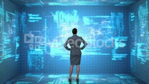 Businesswoman coding on tech interface
