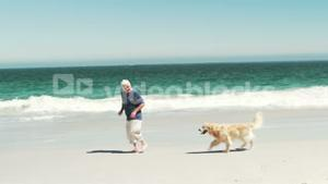 Old retired man running with dog