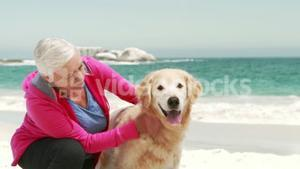 Old retired woman with dog