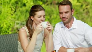 Sweet couple drinking coffee
