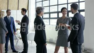 Business people talking together