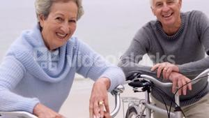 Retired couple with bikes