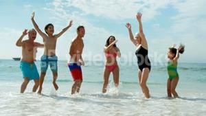 Happy extended family jumping