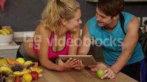 Cpouple with healthy life using tablet