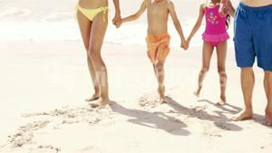 Cute family holding hands on the beach