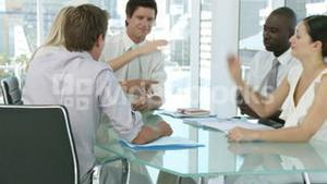 Business team discussing at a table