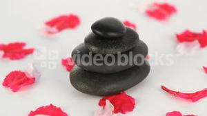 Black stones surrounded by flower petals