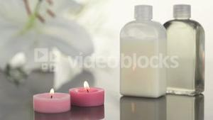 Candles and massage lotion in a Spa centre