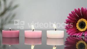 Lighted candles in a Spa centre