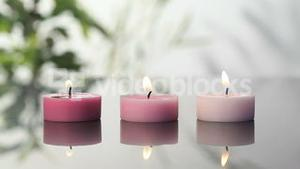 Pink lighted candles