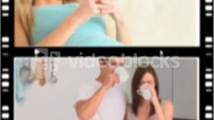 Montage of people drinking coffee