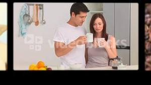 Montage of people relaxing while drinking coffee