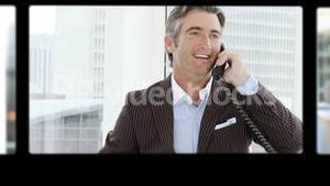 Montage of business people having phone discussion