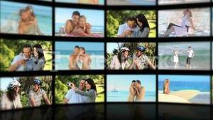 Montage of lovers on the beach