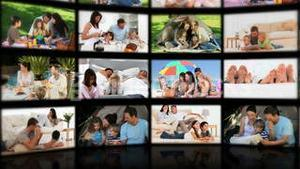 Montage of couples and families relaxing