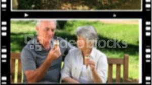 Montage of senior couples relaxing