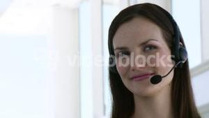 Smiling Business woman with headset on