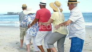 Senior friends dancing on the beach