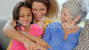 Smiling family on couch