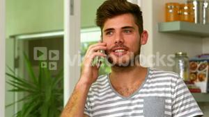 Close up of handsome man calling