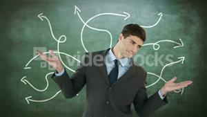 Unsettled businessman with open hands