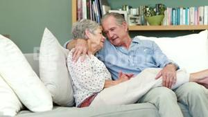 Senior couple embracing in living room