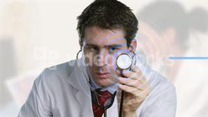 Doctor listening to a stethoscope
