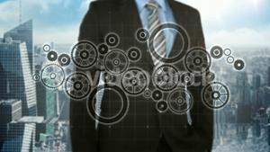 Businessman pressing touch screen