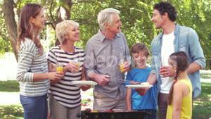 Happy family having a barbecue