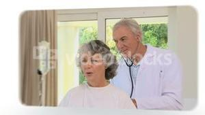 Montage of doctors checking some patients