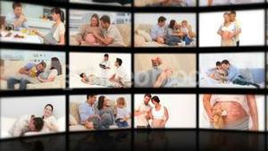 Montage of couples enjoying pregnancy moments together