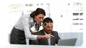 Montage of different situations of business people working together