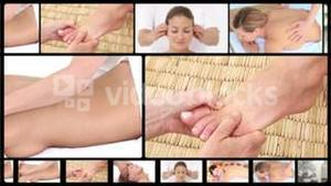 Montage of women relaxing at the spa