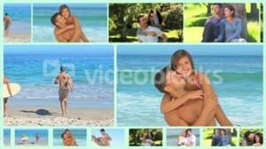 Montage of happy couple outside