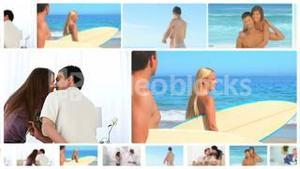 Montage of happy couples in several situations