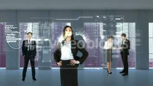 Animation of business people looking at tech interface