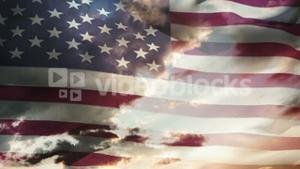 Animation of american waving flag