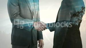 Animation of business people hand shaking