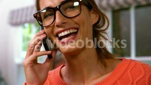 Woman is calling with smartphone