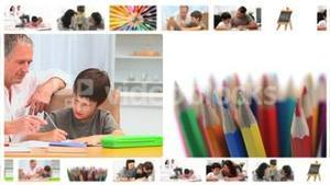 Montage of children writing or drawing